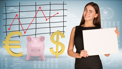 Businesswoman hold paper sheet. Pink piggy bank with dollar and