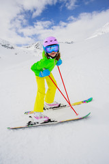 Skiing, winter, ski lesson - skier on mountainside