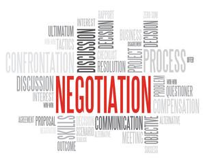 Red Negotiation words cloud vector concept