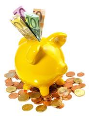 Sparschwein mit Geldscheine und Münzen
