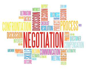 Illustration of Wordcloud word tags of negotiation