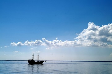 Bateau en pleine mer