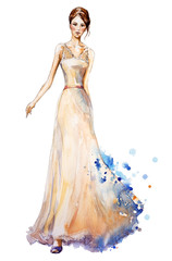 Watercolor fashion illustration,  girl in a long dress.