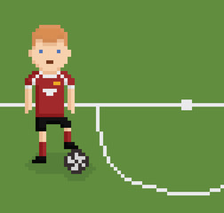 pixel art style illustration football soccer player on green