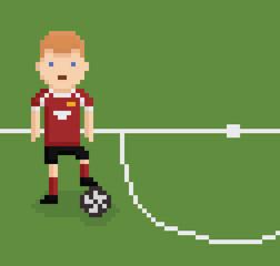 pixel art style illustration football soccer player on green