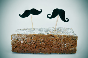 moustaches in a cake