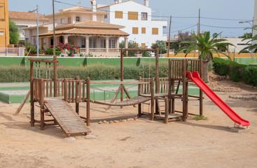 Modern children playground in city park.