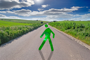 green man crossing the street