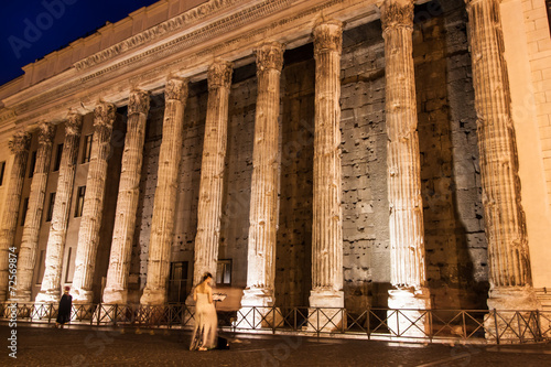 Temple of Emperor Adrian  in Rome Poster