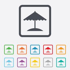 Beach umbrella icon. Protection from the sun.