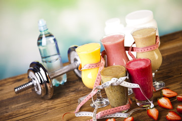 Cocktails with fresh fruits, Vitamin and Fitness