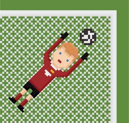 pixel art illustration football soccer goalkeeper in red uniform