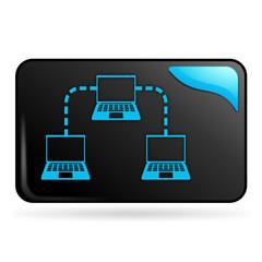 ordinateur en réseau sur bouton web rectangle bleu