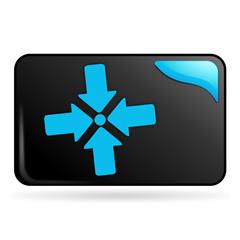 point de rassemblement sur bouton web rectangle bleu