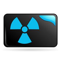 radioactivité sur bouton web rectangle bleu