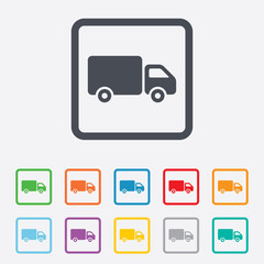 Delivery truck sign icon. Cargo van symbol.
