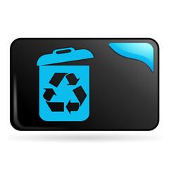 recyclable sur bouton web rectangle bleu