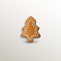 gingerbread tree Christmas card paper 3D natural vector