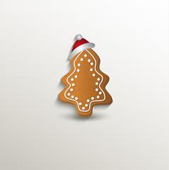 gingerbread tree cap Christmas card paper 3D natural vector