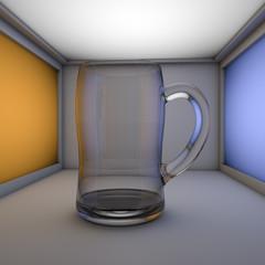 glass jar in a light box
