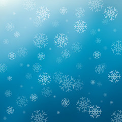 Blue abstract background with snowflakes