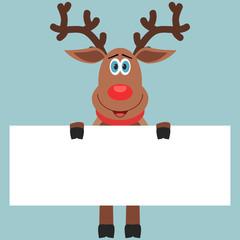 Reindeer holding paper