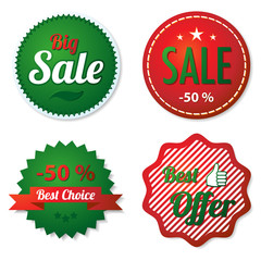 Red and green sale labels