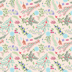 Seamless Tileable Vintage Floral Background Pattern - Vector Ill