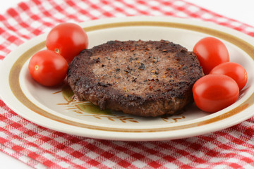 Freshly grilled hamburger patty