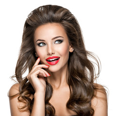 beautiful thinking woman with excited emotions and long brown  h