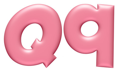 Light pink letter Q isolated on white background