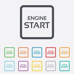 Start engine sign icon. Power button.