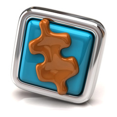 Orange jigsaw piece on blue button