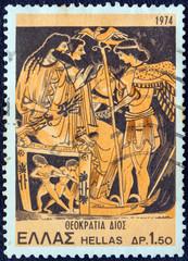 Zeus, Hera enthroned and Iris, vase (Greece 1974)