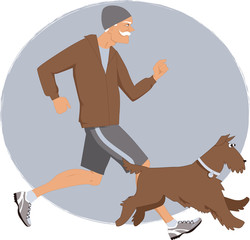 Elderly man jogging with his dog
