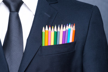 Multicolored businessman.