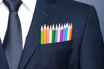 Multicolored businessman.