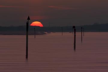 Sunset over the Beaulieu River at Lepe