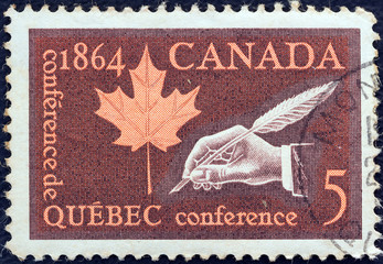 Maple Leaf and Hand with Quill Pen (Canada 1964)