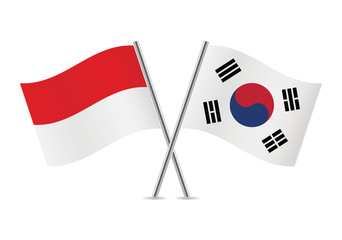 Indonesian and South Korean flags. Vector illustration.