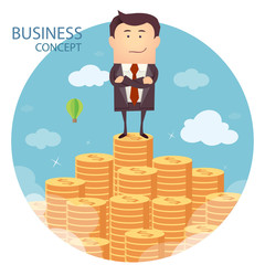 Vector illustration of businessman and money staircase