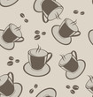 Seamless background with coffee cups and beans