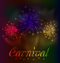 Colorful fireworks background for Carnival party