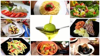 olive oil in mediterranean cuisine, collage