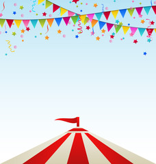 Circus striped tent with flags © -=MadDog=-