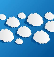 Set cut out clouds, blue paper