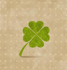 Vintage design with four-leaf clover for St. Patrick's Day