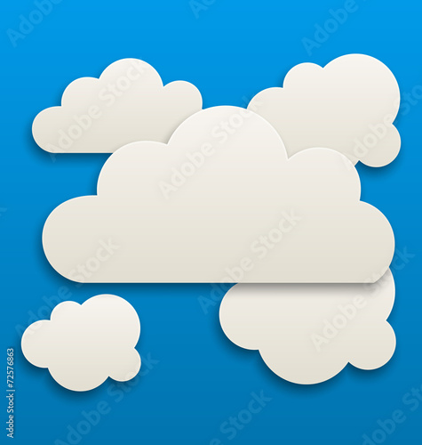 canvas print picture Paper white clouds, sky background