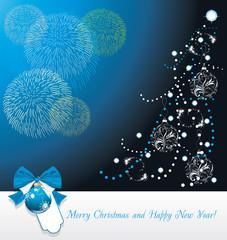 Shining Christmas tree and fireworks. Greeting card