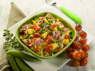 cold rice salad with tuna and pineapple